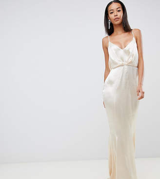 Asos Tall DESIGN Tall maxi dress with pleat front in high shine satin with fishtail hem