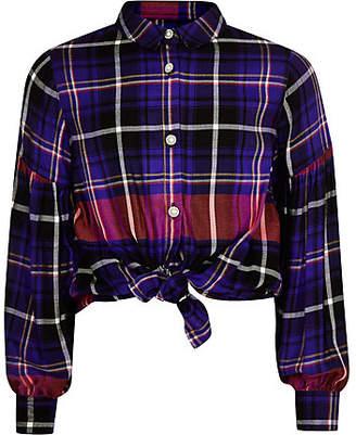 River Island Girls purple check print tie front shirt