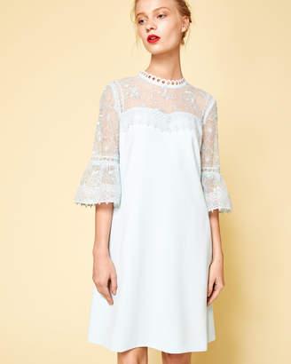Ted Baker RAECHAL Lace peplum sleeve dress