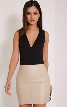 PrettyLittleThing Catalina Stone PU Mini Skirt