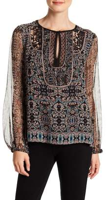 Nanette Lepore Bella Silk Printed Split Collar Blouse
