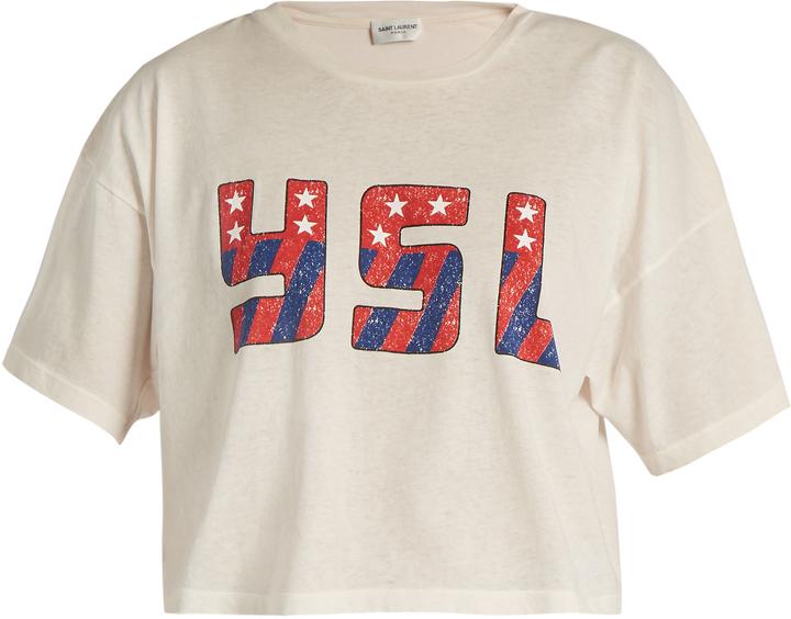 Saint LaurentSAINT LAURENT YSL-print cropped cotton-jersey T-shirt