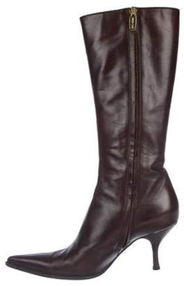 Sergio Rossi Leather Knee-High Boots Brown Leather Knee-High Boots
