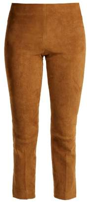 Vince - Cropped Suede Trousers - Womens - Dark Tan