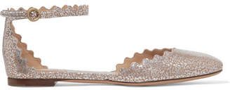 Chloé Lauren Scalloped Metallic Leather Ballet Flats - Gold