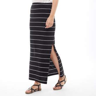 Only Womens Abbie Striped Long Slit Skirt Black/Light Grey Melange Wide Stripe