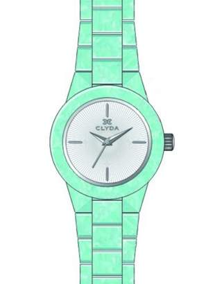 Clyda Cla0520stix Women's Mint Green Acetate White Dial Silver-Tone Accents Watch