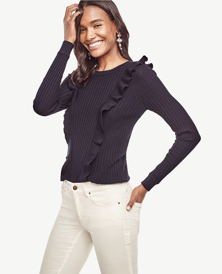 Silk Cotton Ruffle Sweater