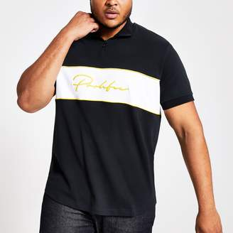 River Island Mens Big and Tall Navy 'Prolific' zip neck T-shirt