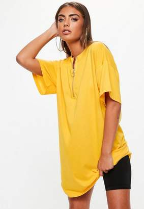 Missguided Yellow Oversized Zip Front T Shirt Dress