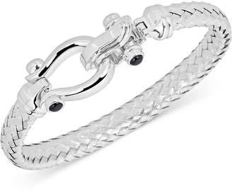 Italian Gold Black Spinel Horseshoe Clasp Bangle Bracelet in 14k White Gold