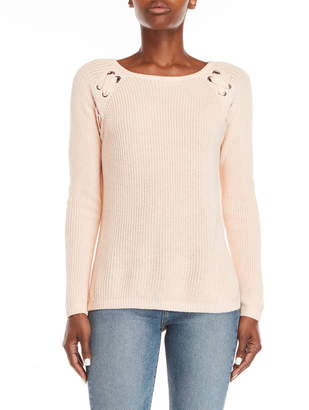 Design History Peach Lace-Up Sweater