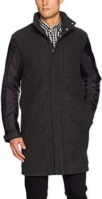 Armani Exchange A|X Men's Wool Front Overcoat with Contrast Sleeves