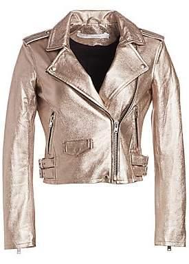 IRO Women's Ashville Cropped Metallic Leather Jacket