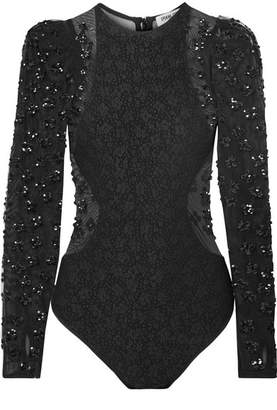Opening Ceremony Stretch-cloqué And Sequined Tulle Bodysuit - Black