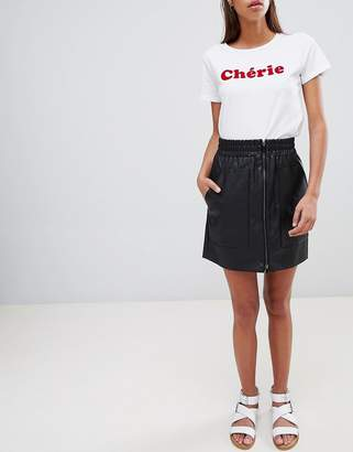 French Connection Zip Front Mini Skirt in Faux Leather