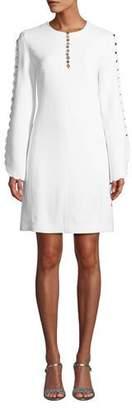 Michael Kors Scalloped-Sleeve Crepe Sable Shift Dress