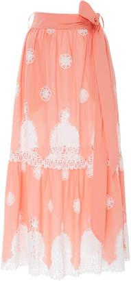 Miguelina Georgia Lace-Paneled Cotton Maxi Skirt