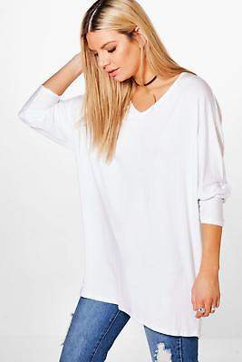 boohoo Womens Jasmin Long Sleeve Oversized T-Shirt in White size 8