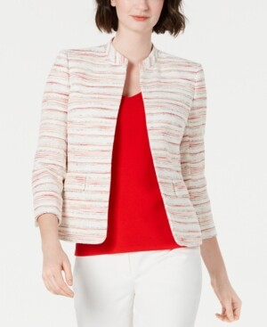 Anne Klein Striped Mandarin-Collar Blazer