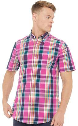 U.S. Polo Assn. Mens Frank Short Sleeve Check Shirt Magenta