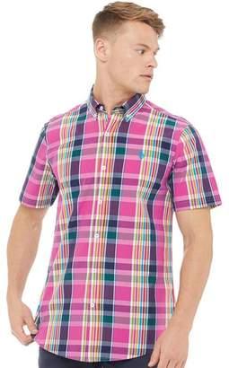U.S. Polo Assn. Mens Frank Short Sleeve Check Shirt Magenta