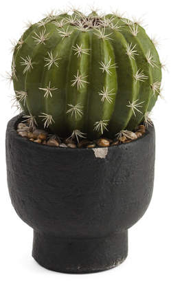 12.5in Faux Cactus In Cement Pot