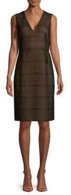Akris Embroidered Stripe Knee-Length Dress