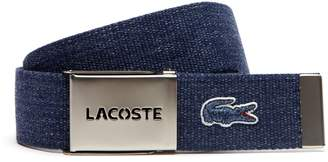Lacoste Men's Woven Belt Strap And Perforated Buckle Gift Set