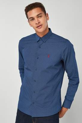 Next Mens Navy Long Sleeve Geo Print Shirt
