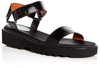 Aquatalia Women's Wande Weatherproof Embossed Patent Leather Platform Wedge Sandals