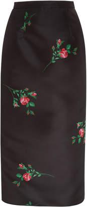 Rochas Floral-Print Duchess-Satin Midi Pencil Skirt Size: 38