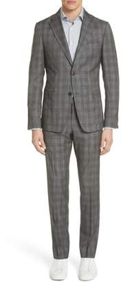 Ermenegildo Zegna Classic Fit Plaid Wool & Silk Suit