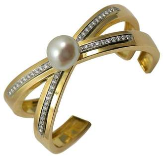 Tiffany & Co. Paloma Picasso 18K Yellow Gold and Platinum Pearl and 1.88 Ct Diamond X Bangle Bracelet