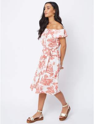 George Cream Scenic Print Button Detail Bardot Dress