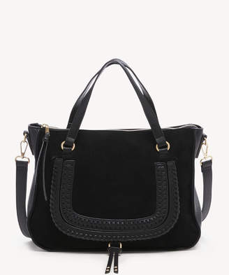 Sole Society Women's Destin Satchel Vegan Studded Whipstich In Color: Black Bag Vegan Leather From