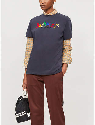 Burberry Rainbow logo-embroidered cotton-jersey T-shirt
