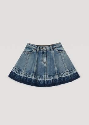 Emporio Armani Full Skirt In Tie-Dye Denim
