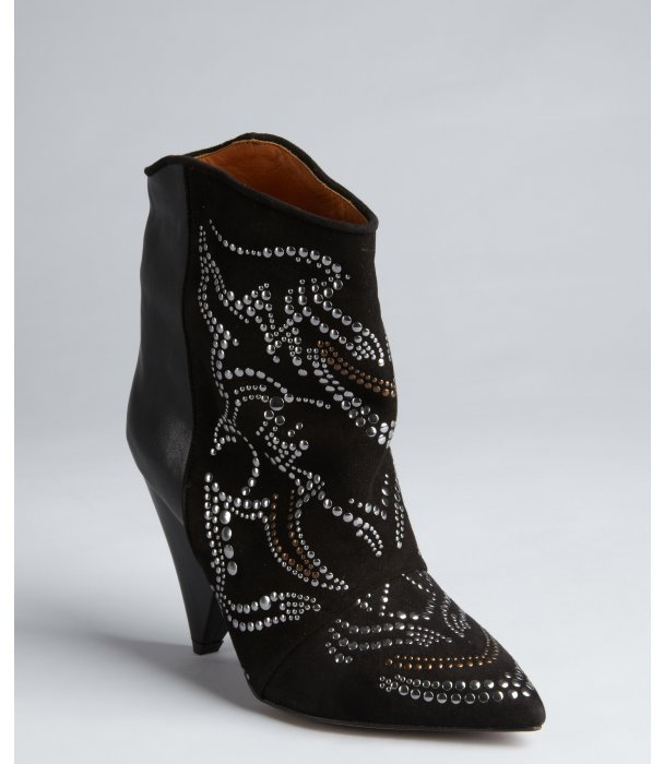 Isabel Marant black leather and suede studded 'Memphis' ankle boots