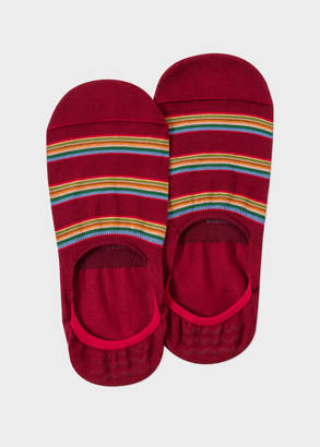 Paul Smith Men's Red Multi-Stripe Block Loafer Socks