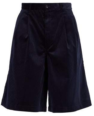 Comme Des Garçons Shirt - Wide Leg Corduroy Shorts - Mens - Navy