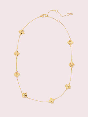 Kate Spade Legacy Logo Spade Flower Necklace, Clear/Gold