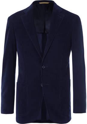 Canali Midnight-Blue Kei Slim-Fit Cotton-Corduroy Suit Jacket