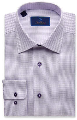 David Donahue Men's Regular-Fit Mini Basketweave Dress Shirt