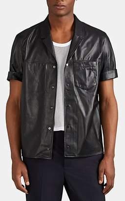 Neil Barrett Men's Leather Snap-Front Shirt - Black