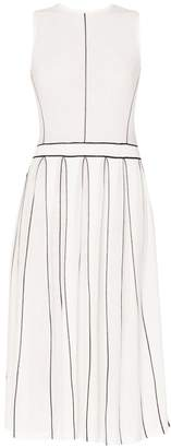 PAISIE - Knitted Dress With Stripe Details & Pleated Skirt In White & Black