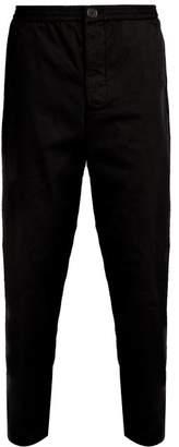 Oliver Spencer Concealed Drawstring Cotton Trousers - Mens - Black