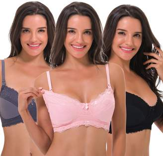 Curve Muse Women's Plus Size Nursing Wirefree Bra with Full Figure Lace-3Pack