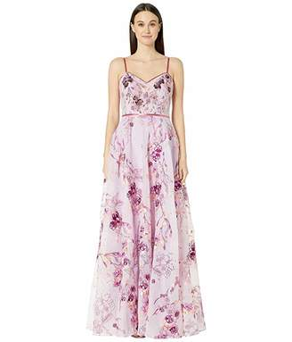Marchesa Sleeveless V-Neck Printed Organza Gown