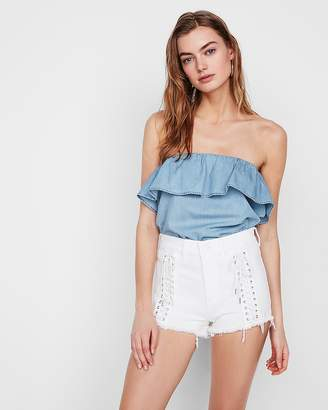 Express Ruffle Denim Tube Top